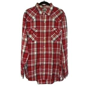 Men's XL Plaid VTG Pearl Snaps Single Stitch Shirt